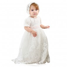Baby Girls White Lace Dress Christening Baptism Gowns and Bonnet
