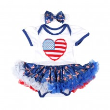 Baby Girls 4th of July Bodysuits American Flag Dress Independence Day Outfits Clothes