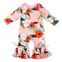 Baby Girls Flower Romper Long Sleeve Ruffles Leisure Wear