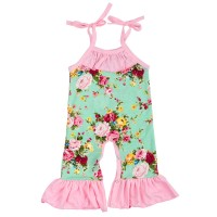 Baby Girls Flower Sleeveless Ruffles Romper