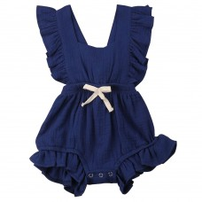Baby Girls Cotton Ruffled Bodysuit, Infant Toddler Soft Falbala One-Piece Romper