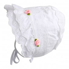 Baby Girls 100% Cotton Double Brimmed Eyelet Lace Bonnet with Flowers