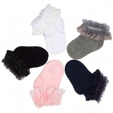 Baby Girls Cotton 5 Pairs of Seamless Ruffles Lace Princess Socks (0-6 Months, Color 3)