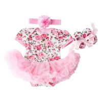 Baby Girls 3 Piece Sets Romper Dress Shoes and Headband Rose Flower Outfits Clothes Pink